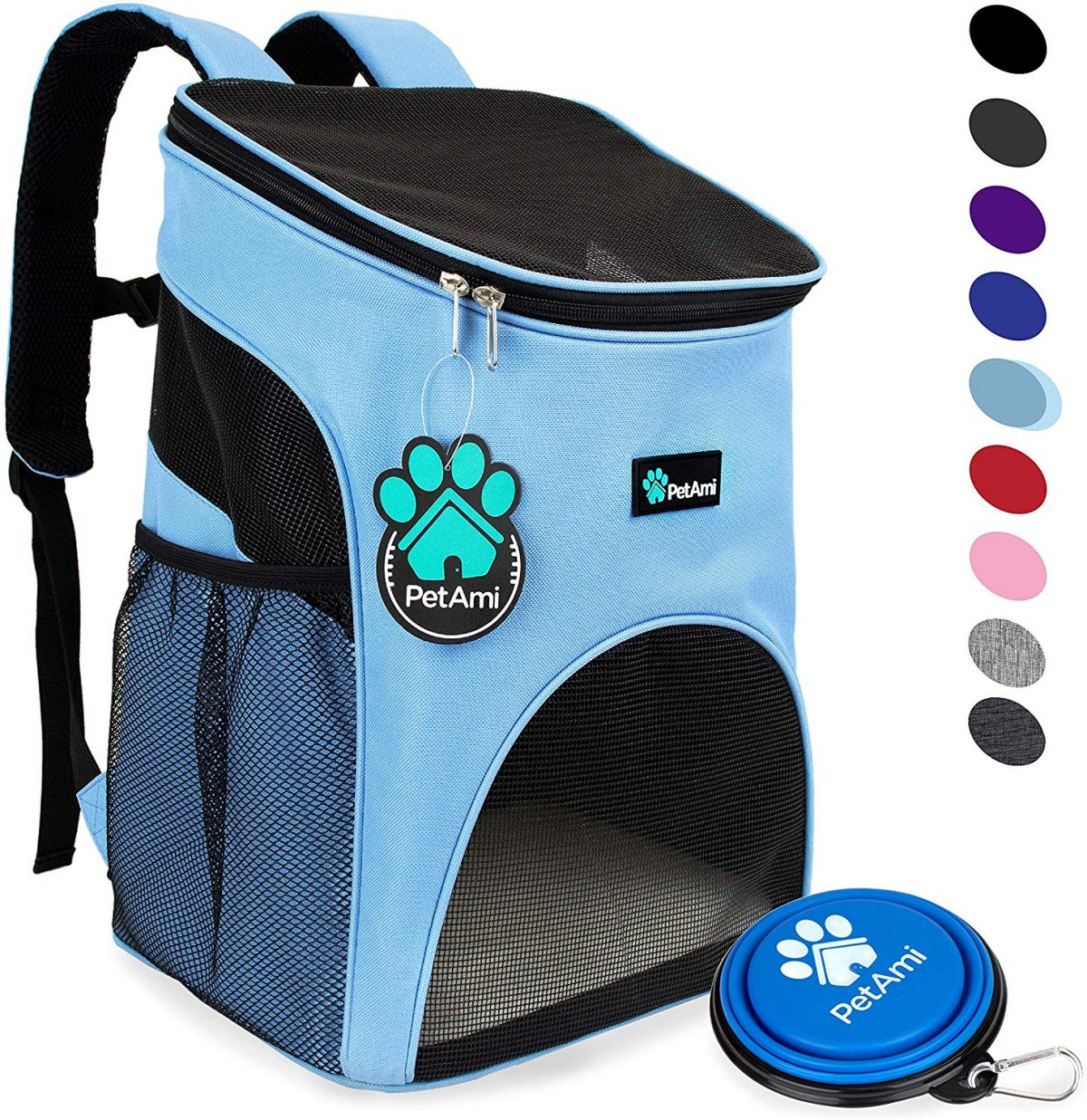 Photo of a sky blue with an opening on the bottom and top with black accents, with swatches of various textures and designs to the right side and a blue collapsible dog bowl in front of the bag