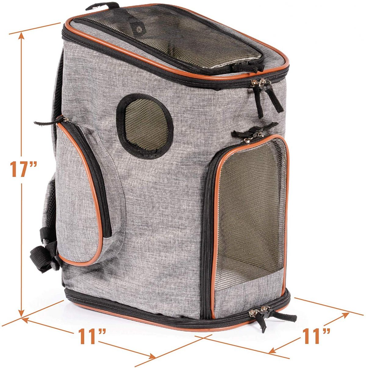 "Photo of an empty grey soft-sided dog carrier pack by Pawfect Pets with brown accents and measurements for each side of the bag, measured 11"" by 11"" by 17"""