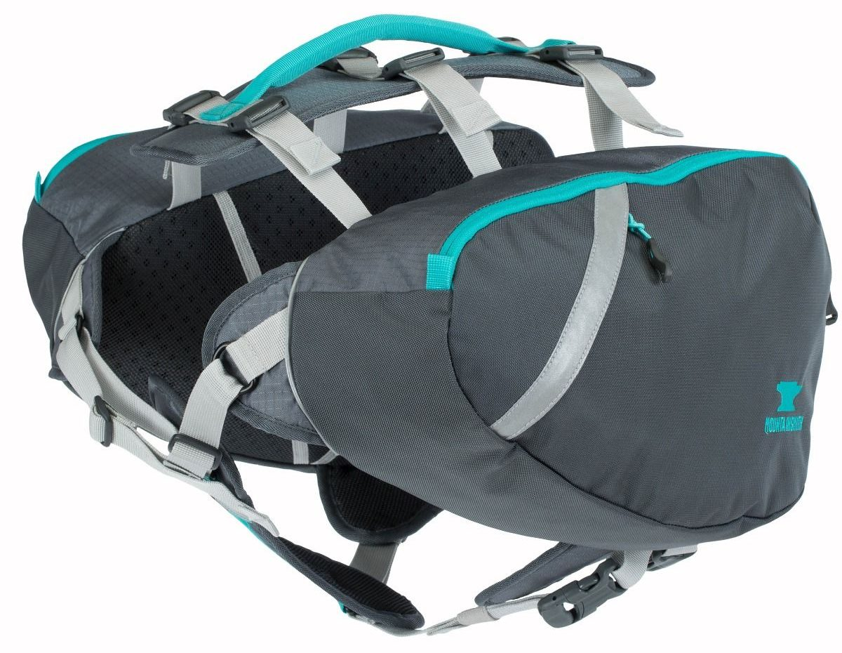 Photo of the grey saddlebag with blue accents, with two compartments on both sides connected by straps and a handle on top and straps for security and fit on the bottom