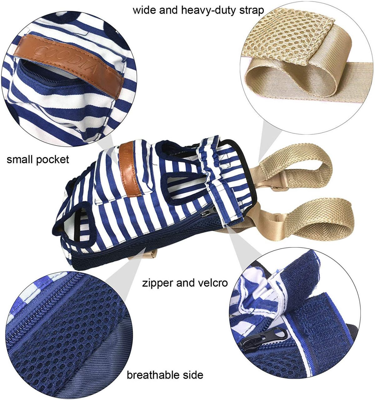 Photo of the COODIA dog bagkpack with blue and white stripes, holes for the dogs' limbs, and a dash of brown with zoomed in photos of the strap, pocket, zipper and velcro, and the mesh air ventilation