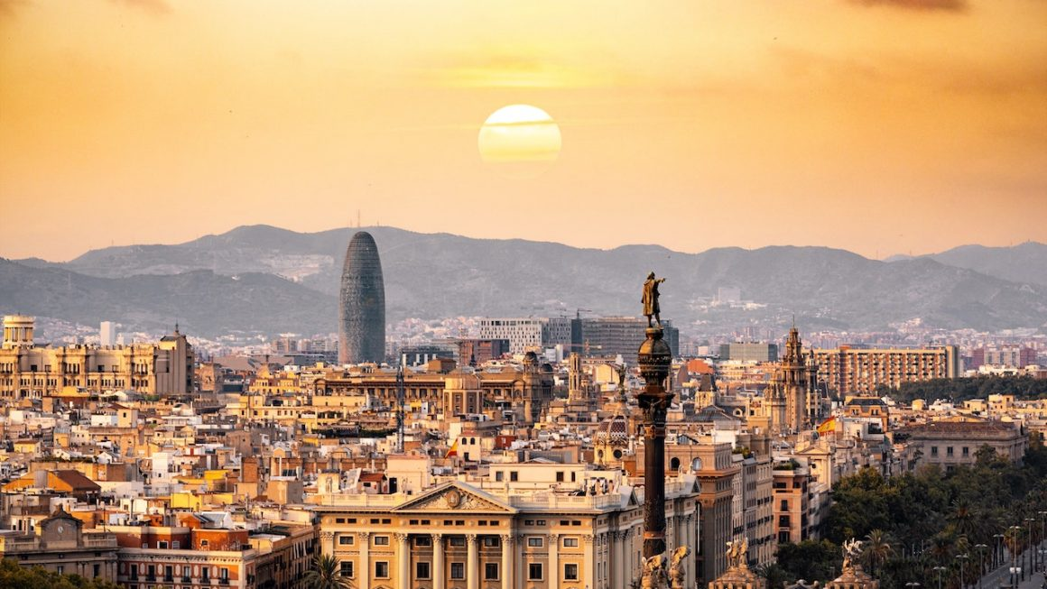 Sunset in Barcelona Spain
