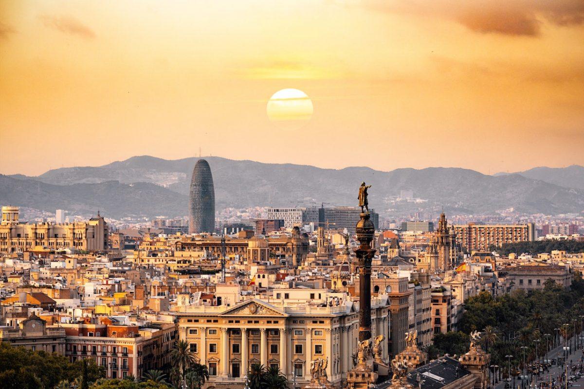 Sunset in Barcelona Spain