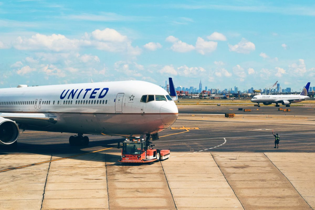 a United Airline Airplane on Newark Liberty Airport's Parking