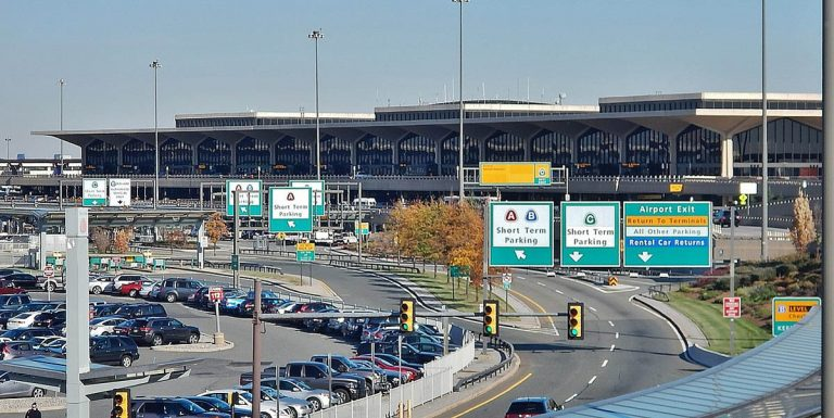 cars parked outside the Newark Liberty International Airport (EWR)