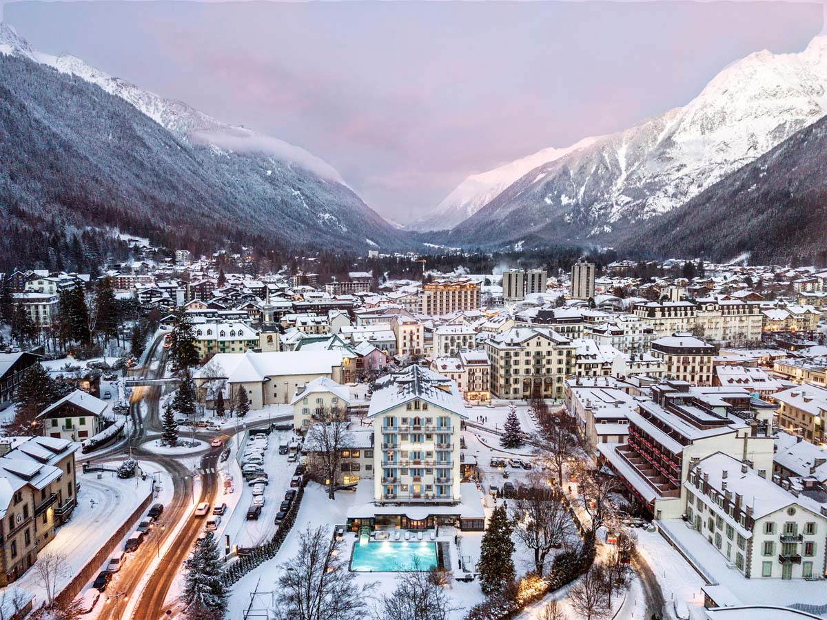 drone shot of the Hotel Mont-Blanc and its surroundings