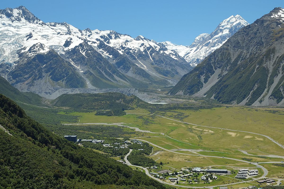 View over Mount Cook Village to The Footstool (far left) and Mount Cook