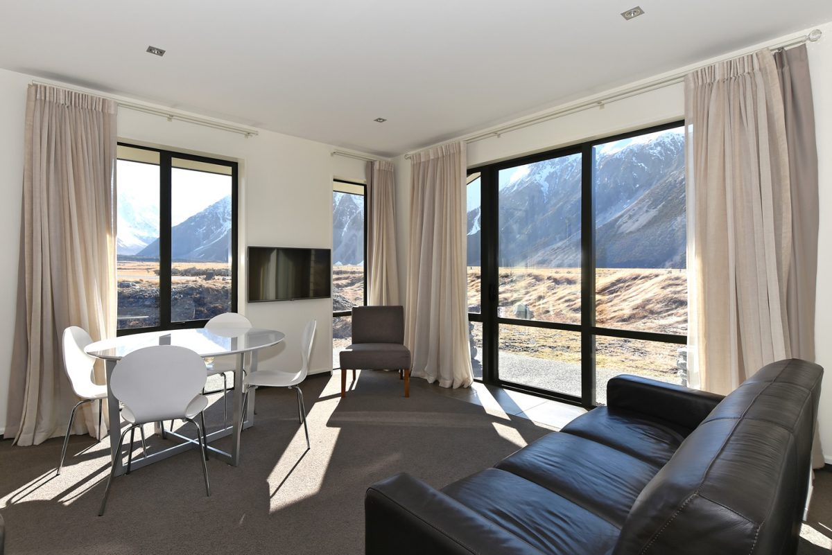 The two-bedroom unit living area at Aoraki Court Motel, Mount Cook National Park, New Zealand