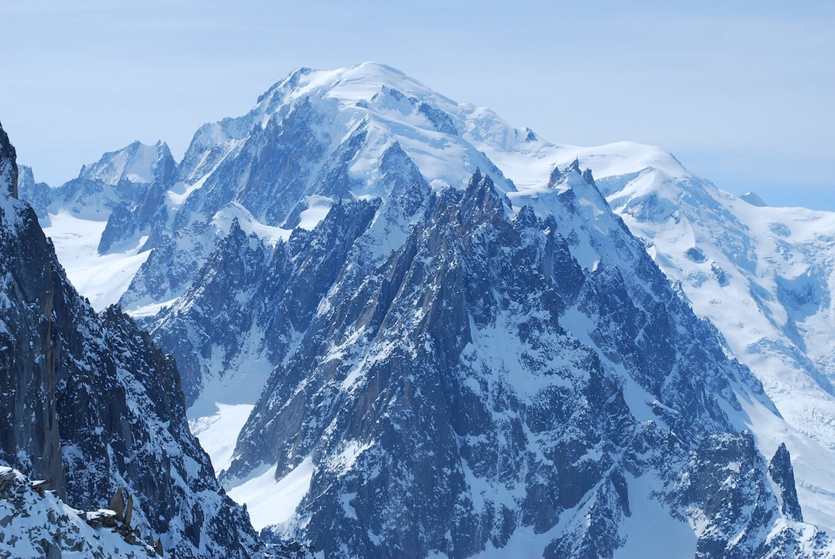 View of the highest peak of the Mont Blanc, French Alps