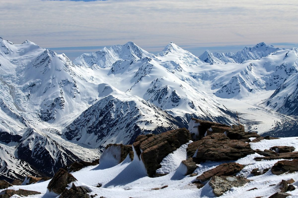 The view of the Mount Cook National Park mountain range from a helicopter