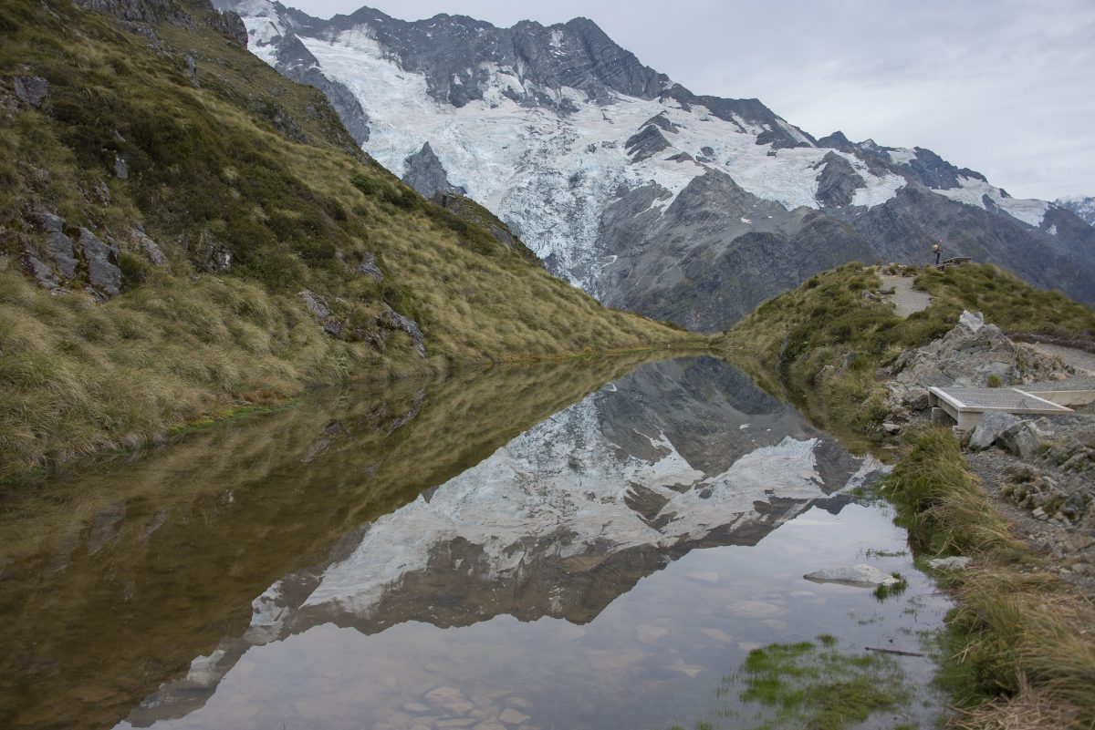 The Sealy Tarns track, paved by greenery and freshwater, provides a spectacular view of the mountain ranges in Mount Cook National Park, New Zealand