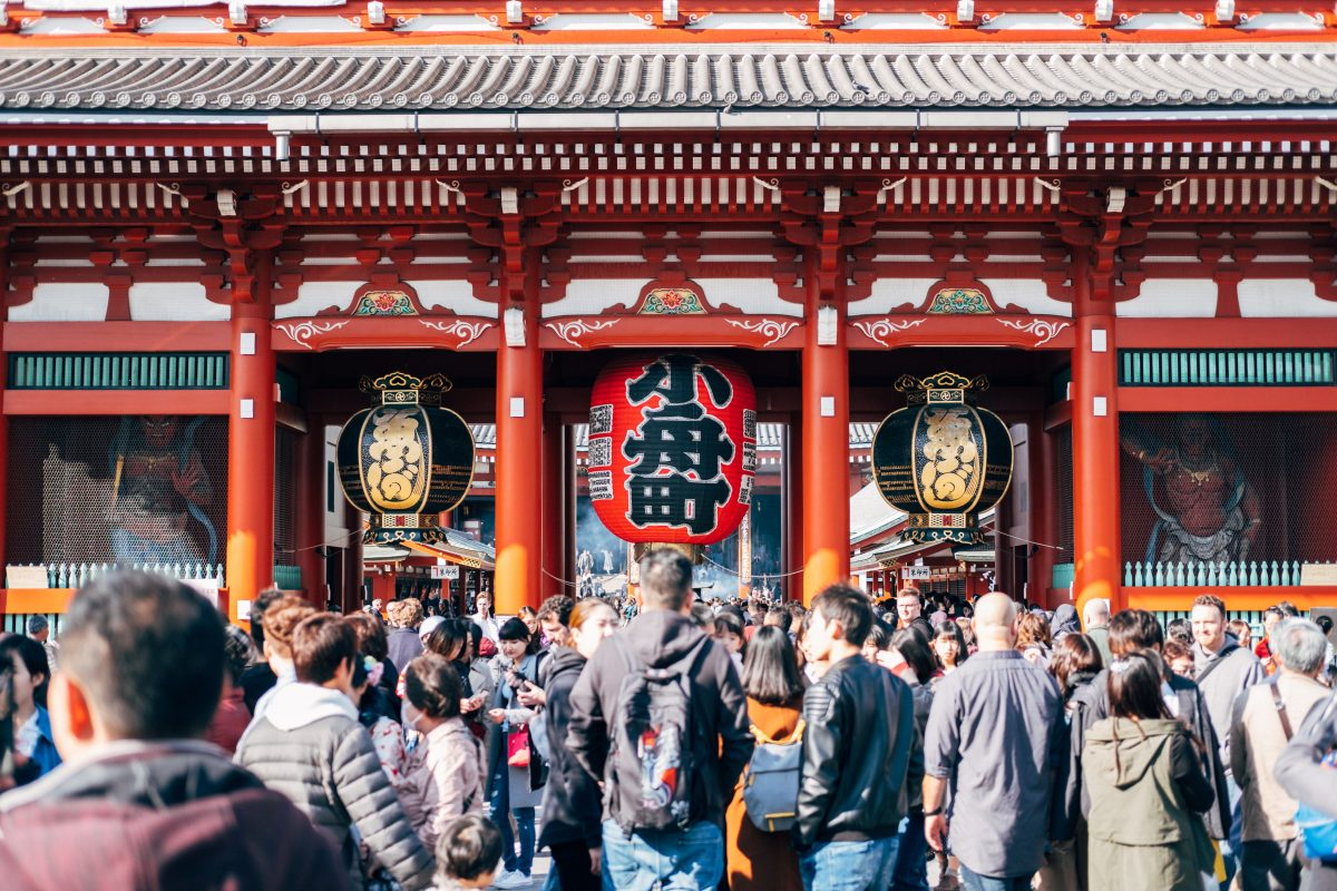 Flocks of tourists visit the Senso-Ji Temple in Asakusa, Tokyo, Japan