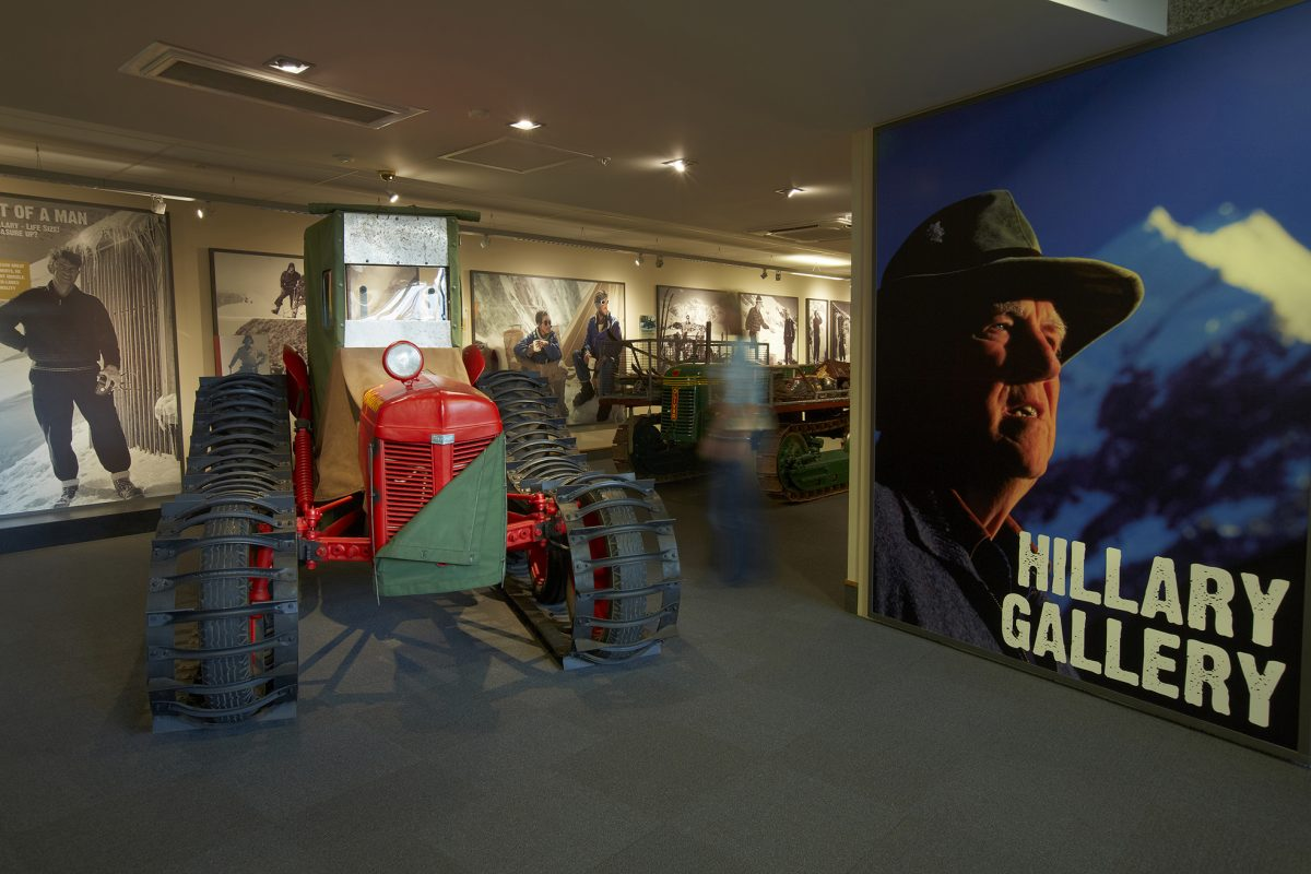 Exhibits are shown inside the Hillary Gallery at Sir Edmund Hillary Alpine Center in Mount Cook National Park, New Zealand