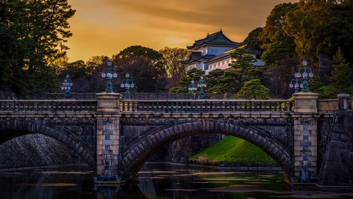 The bridge overlooking the Imperial Palace in Tokyo, Japan at sunset