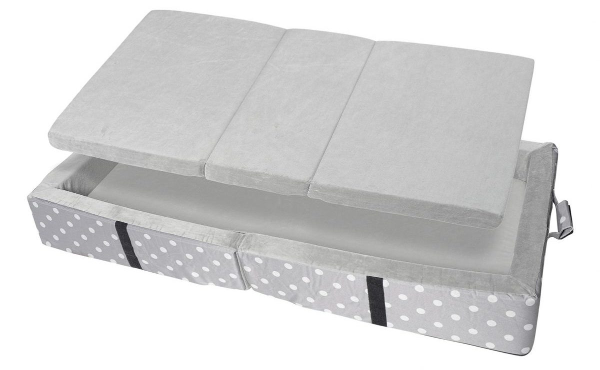 Millard Toddler Bumper Bed with the grey tri-folding mattress with bonus washable fitted sheet
