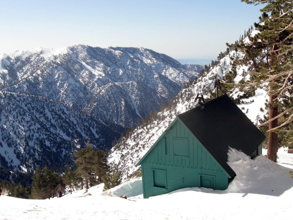 photo of the San Antonio Ski Hut sitting atop Snowy Mt. Baldy