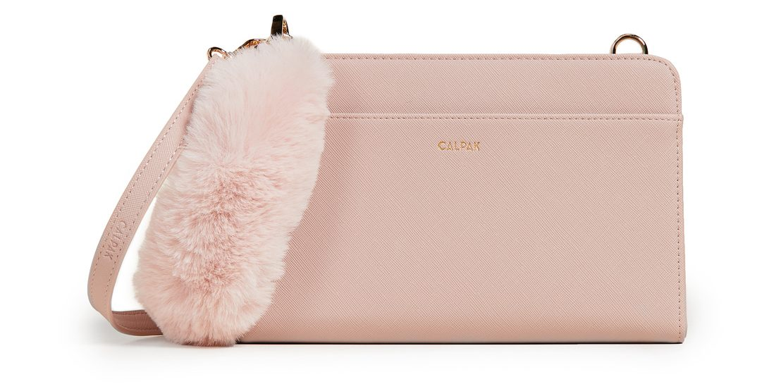 Pestel pink Calpak Travel Purse with furry strap