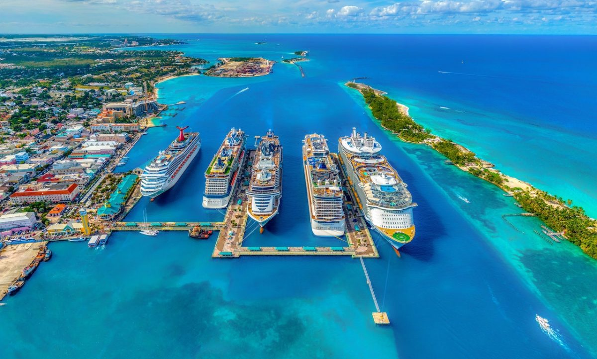 Cruise ship lining up in the Bahamas