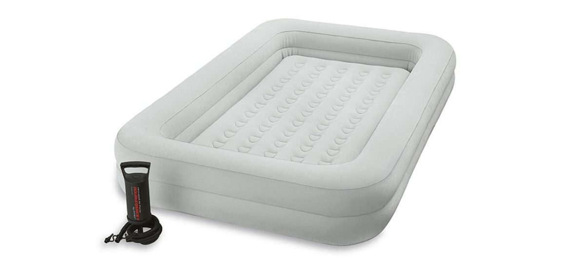 Inflatable Intex Kidz Travel Bed in light grey with built-in railings on all sides and portable pump.