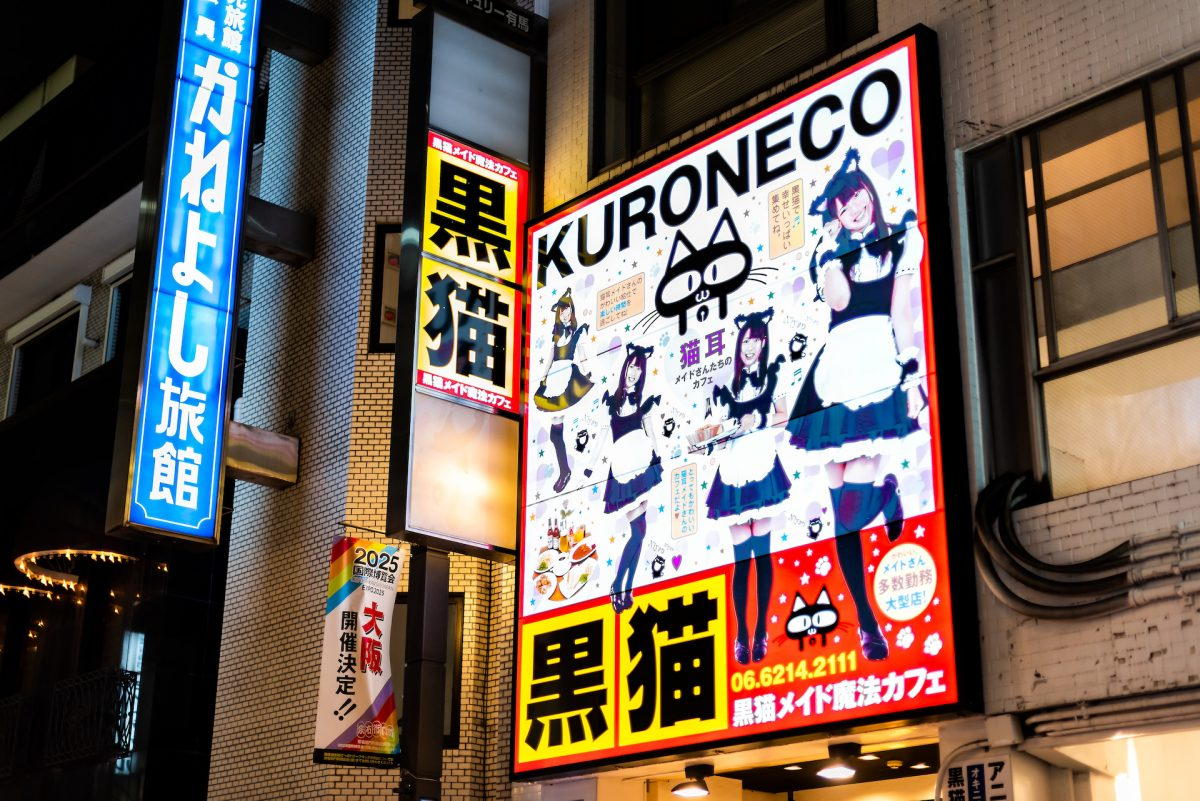 Famous Japanese dark night and illuminated buildings sign for kuroneco black cat maid cafe