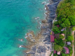 Aerial view of a rocky beach in Koh Lanta