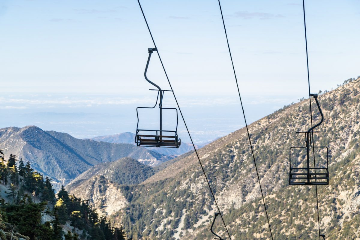 Chair lift up mountain Baldy with scenic California view