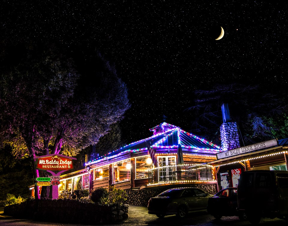 photo of the colorful Christmas lights outside of Mt. Baldy Lodge
