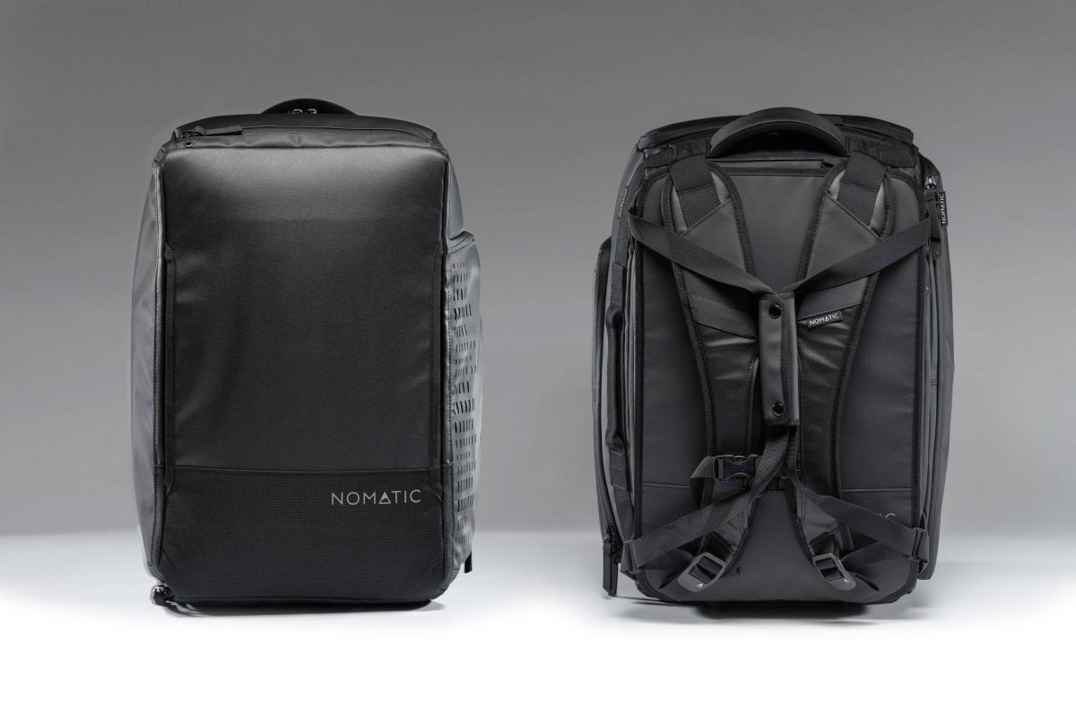 front and back view of the nomatic travel bag
