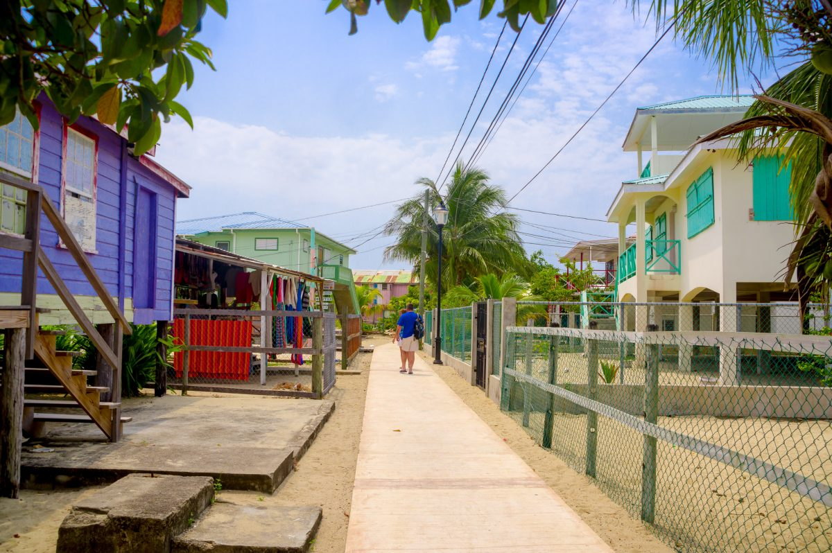 Beautiful colorful houses in the town of placencia, belize