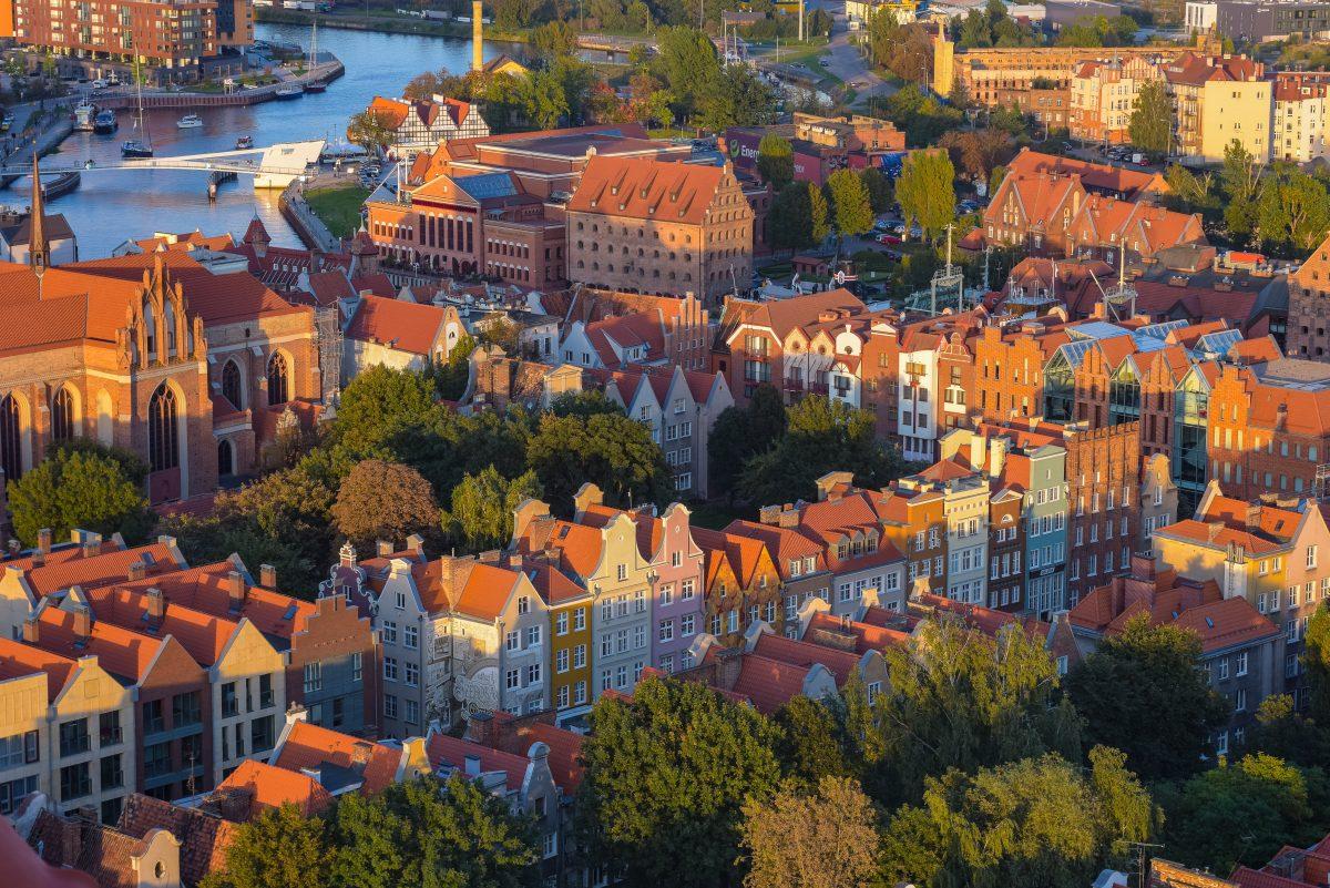 A bird's eye view of Gdansk, Poland