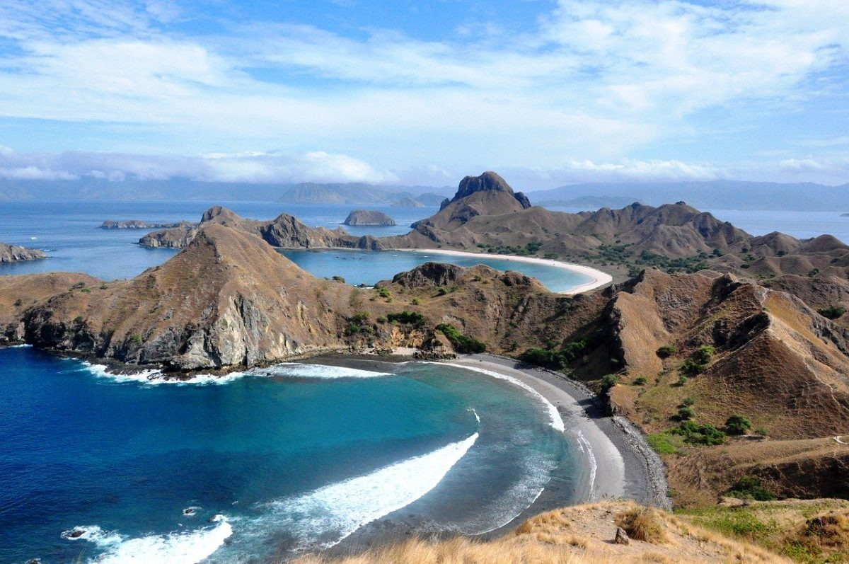 An aerial view of Komodo in Indonesia