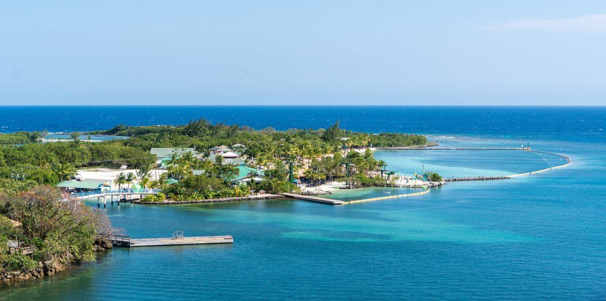An aerial view of Mahogany Bay on the Island of Roatan in Honduras