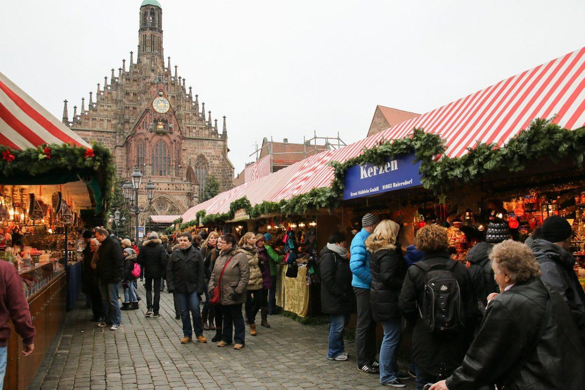 People walking around the Nuremberg Christmas Market in Nuremberg, Germany