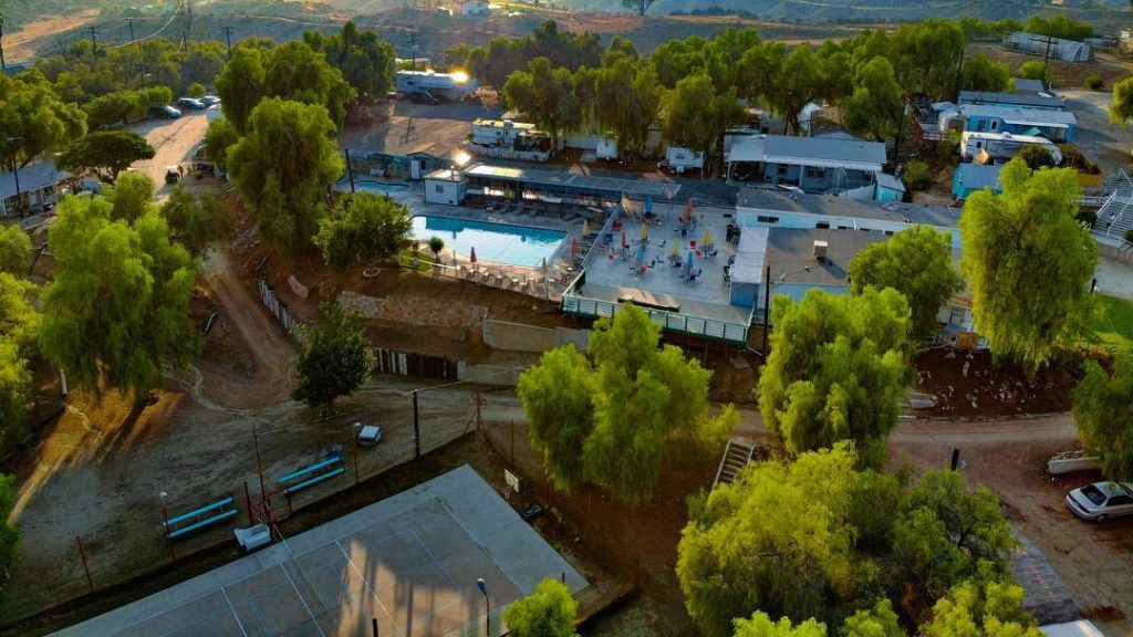 Olive Dell Ranch and its amenities view from above