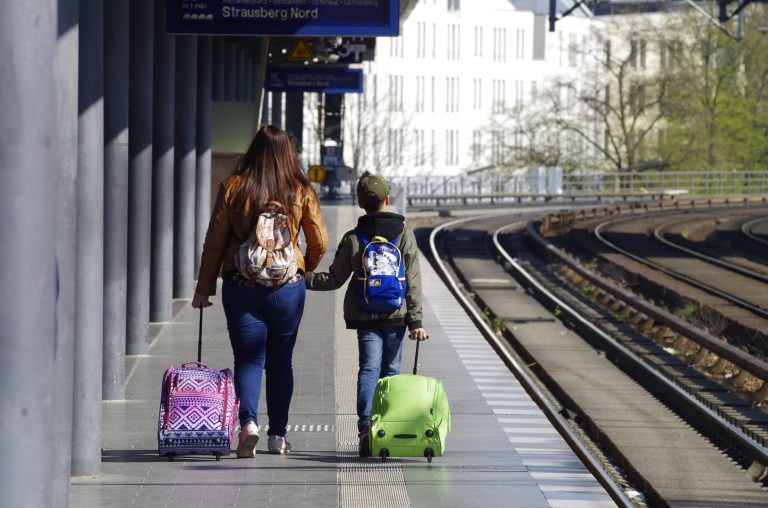 Mom and Child Traveling Together