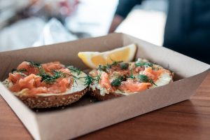 Smoked salmon bagels takeaway in a box