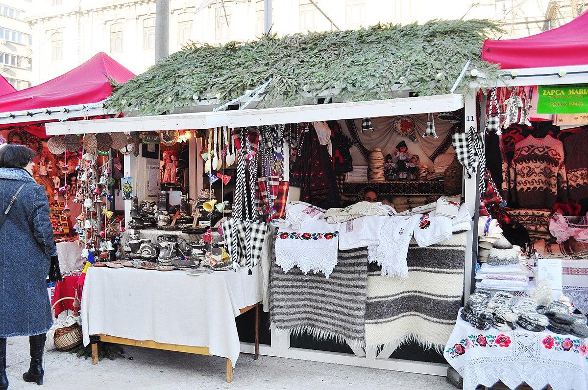 flea market stalls in Bucharest during the holiday season