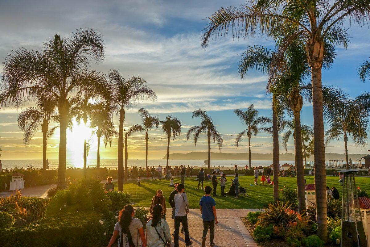 Sunset at Coronado Beach in San Diego.