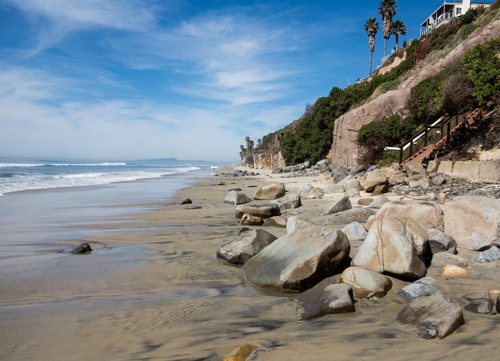 beautiful rock formations at Leucadia State Beach