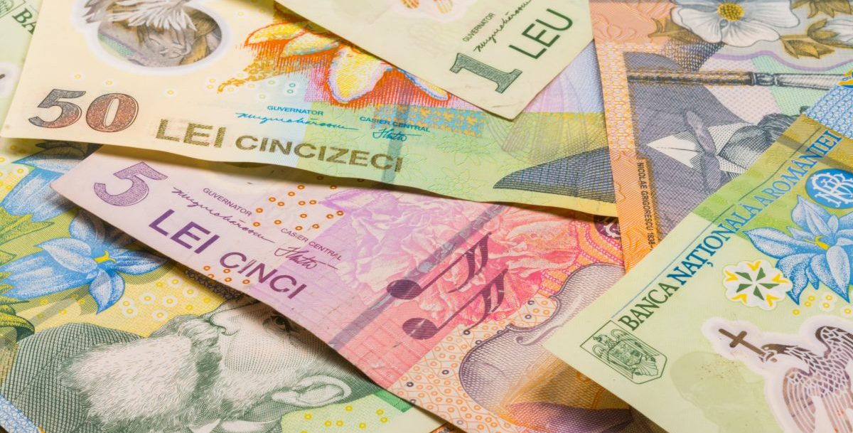 Different banknotes and coins of Romania money