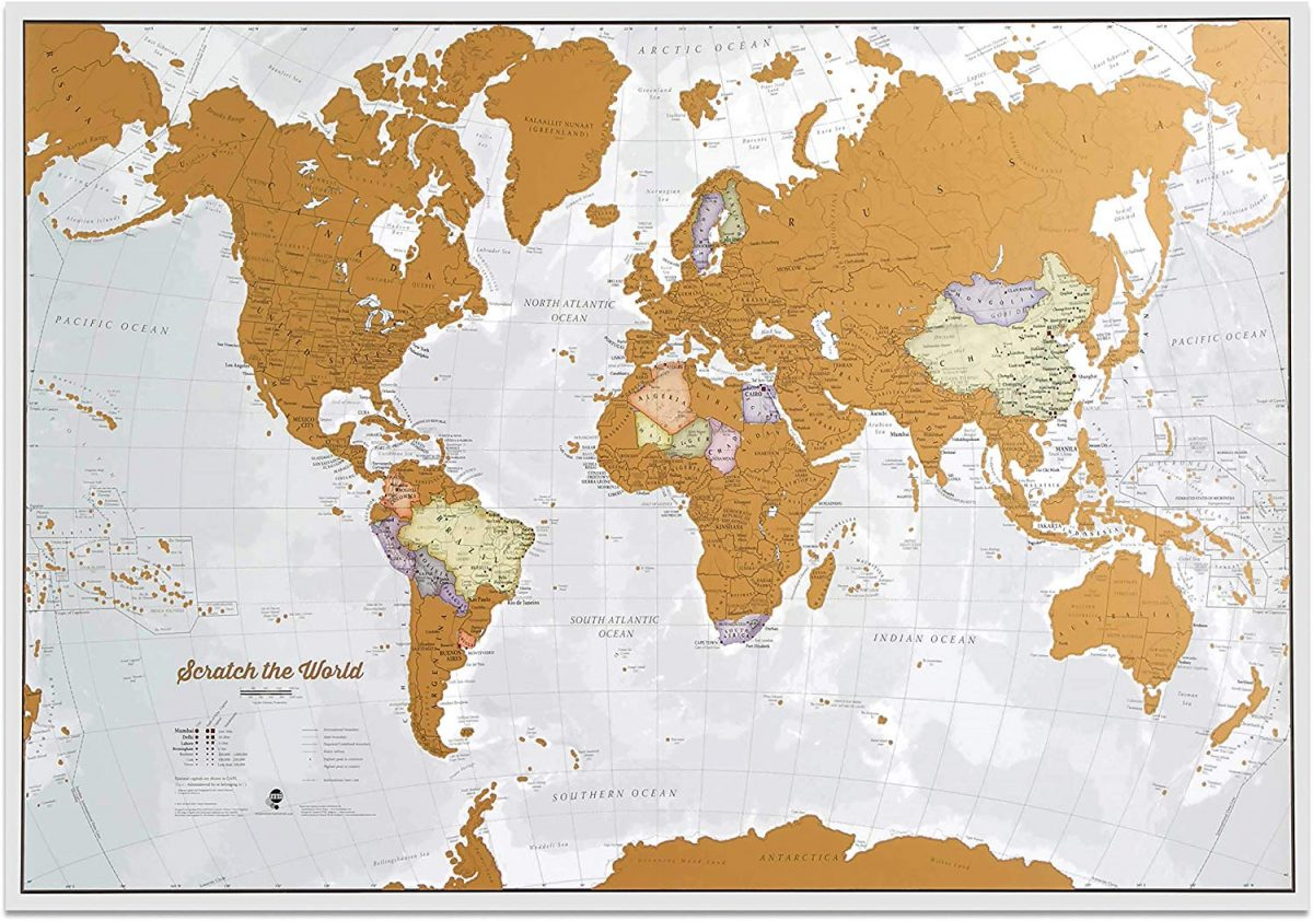 Scratch off world map in golden wax