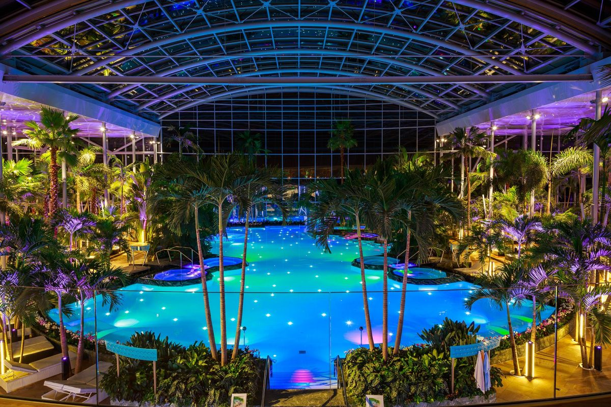 photo of The Palm area with a Large pool lighted inside a dome