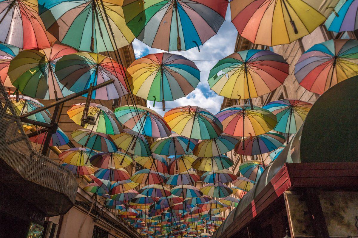 Umbrella ceiling street in Bucharest