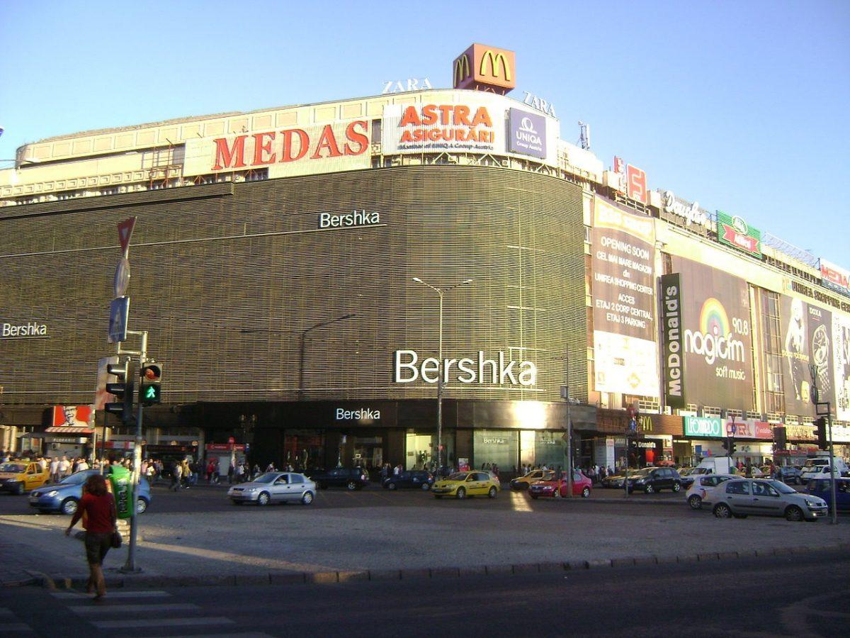 The Bershka logo as seen on the facade of Unirea Shopping Center - Bucharest