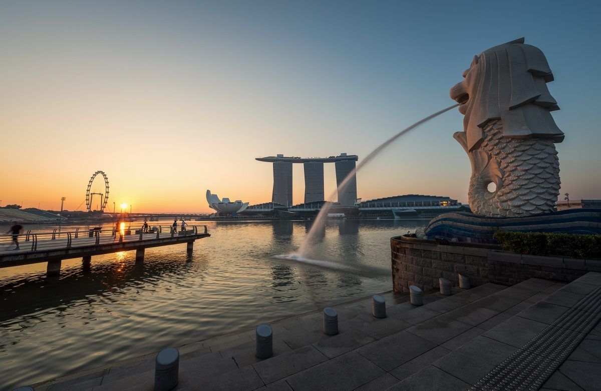 photo of the Merlion Park taken during sunset