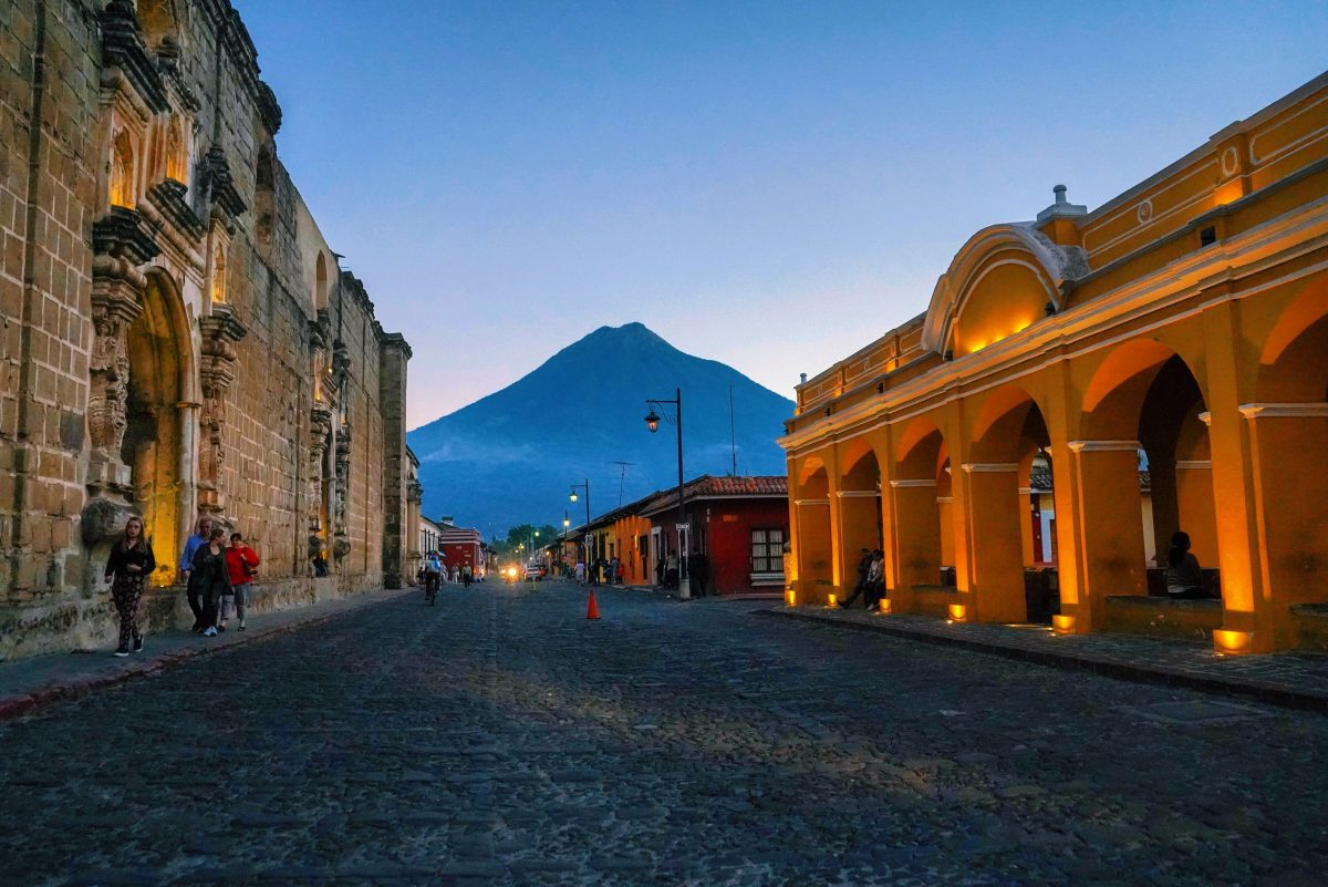 A Guatemalan cobblestone street at dusk