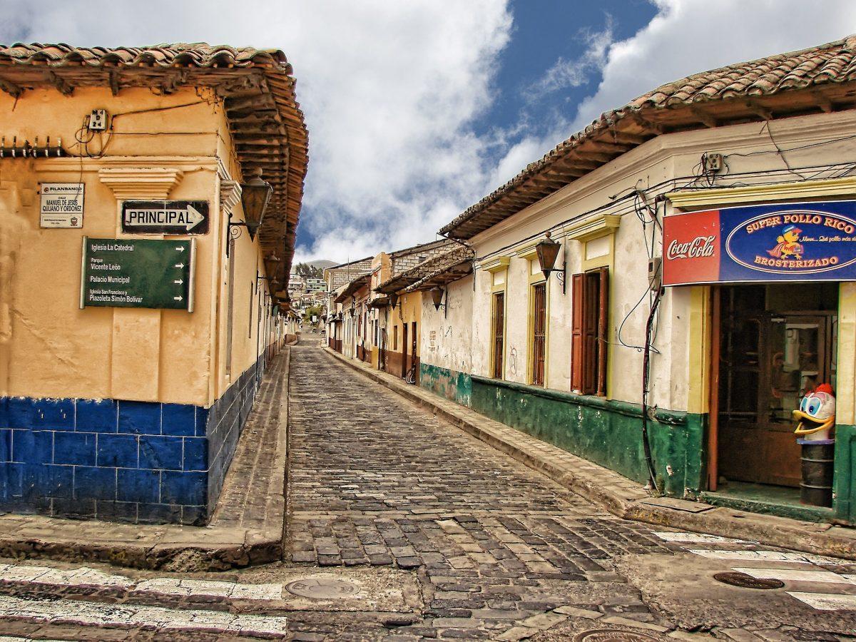 A cobblestone street in Panahachel, Guatemala