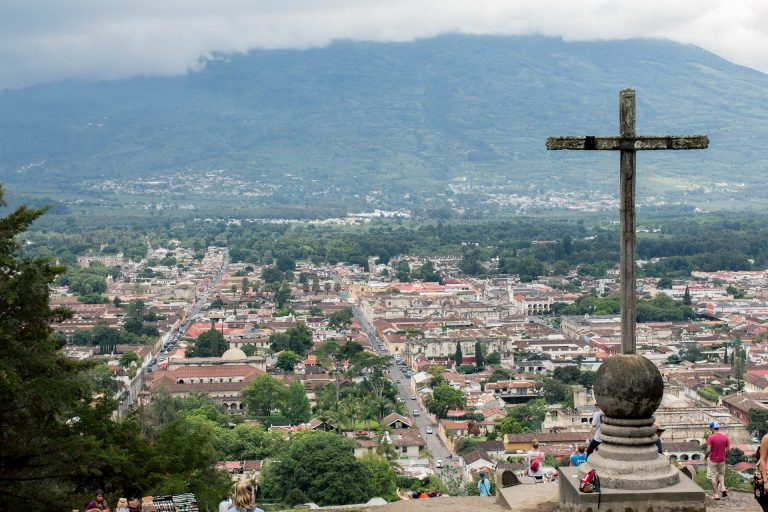 aerial photo of Guatemala with the famous Cerro dela Cruz