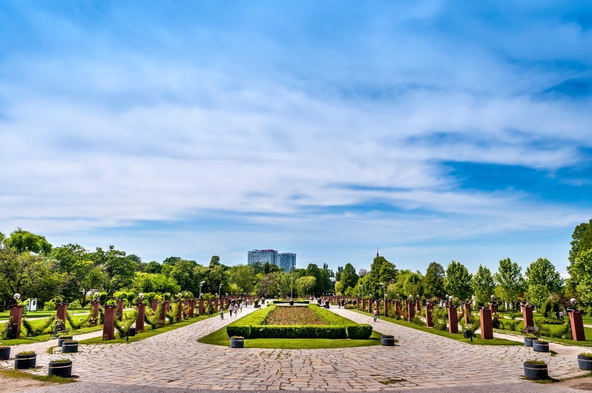 Herastrau Park during a cloudy and sunny day