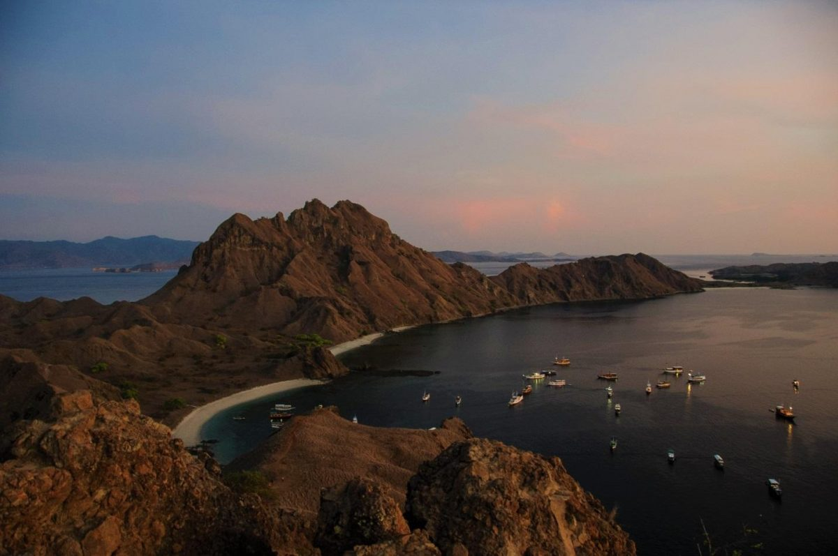ariel photo of yachts on the shore of Komodo Island Indonesia