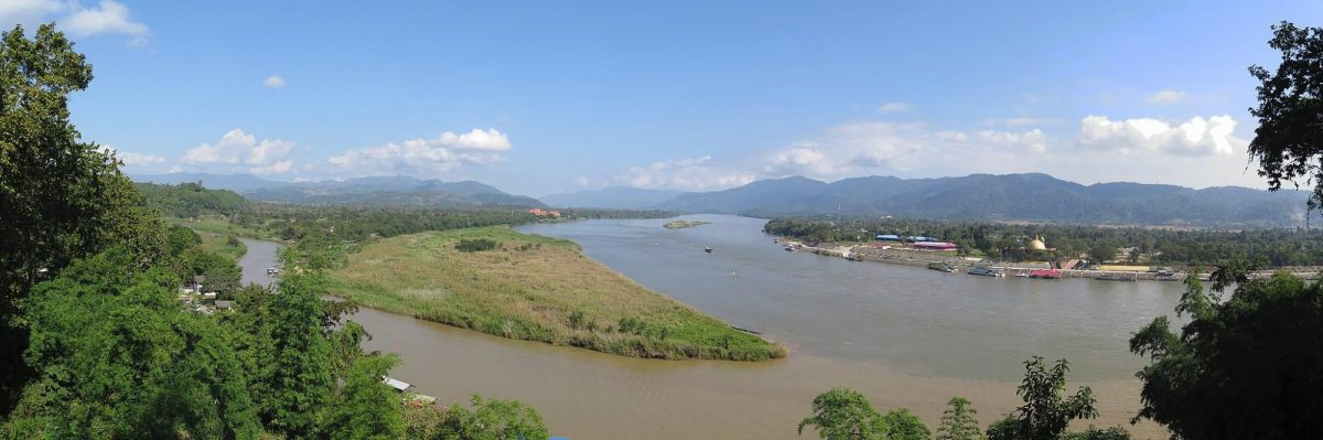 a wide angle shot of the Golden Triangle that forms as a boundary to three countries